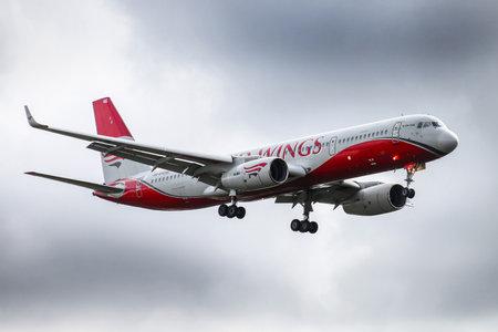 Novyy Urengoy, Russia - August 18, 2018: Red Wings Tupolev Tu-204-100V arrives to the Novyy Urengoy international airport.