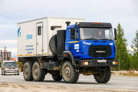 Novyy Urengoy, Russia - August 12, 2018: Well research truck Ural-M 4320 in the city street. Editorial