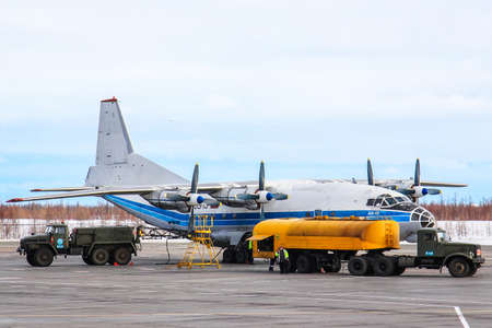 Novyy Urengoy, Russia - April 11, 2015: Kosmos Aviation Antonov An-12B in the Novyy Urengoy International Airport. Redakční