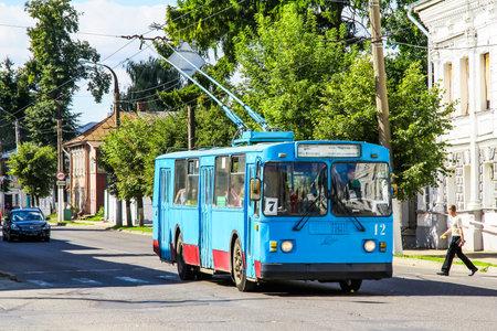 Kostroma, Russia - August 25, 2011: Classic Soviet trolleybus ZIU 682 (ZIU 9) in the city street.