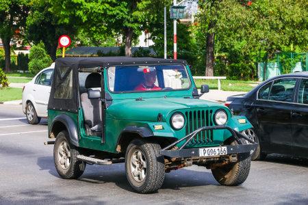 Havana, Cuba - June 6, 2017: Motor car Jeep CJ in the city street.