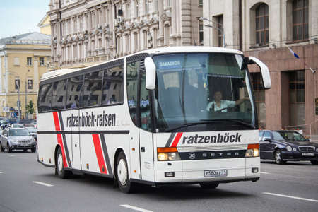 Moscow, Russia - June 2, 2013: Touristic coach bus Setra S315HD in the city street. 에디토리얼