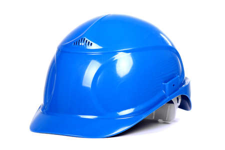 Blue building helmet isolated over white background Stock Photo