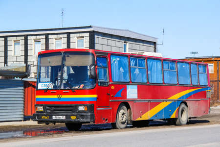 Novyy Urengoy, Russia - May 3, 2013: Intercity coach bus TAM 190A110 in the city street. 에디토리얼
