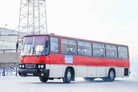 Novyy Urengoy, Russia - February 24, 2013: Intercity coach bus Ikarus 256 in the city street. 에디토리얼