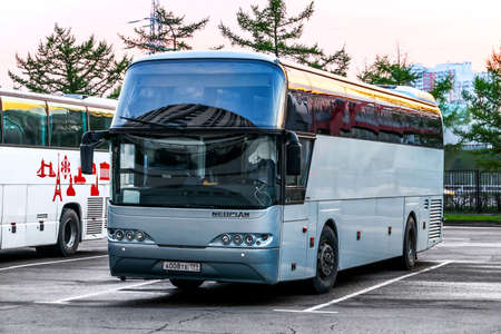 Moscow, Russia - May 2, 2018: Touristic coach bus Neoplan N116 Cityliner in the city street.