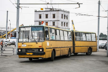 Chelyabinsk, Russia - July 2, 2008: Articulated urban bus Ikarus 280 in the city street. 에디토리얼