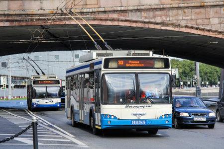 Moscow, Russia - June 2, 2012: Modern trolleybus SVARZ MAZ 6235 in the city street.