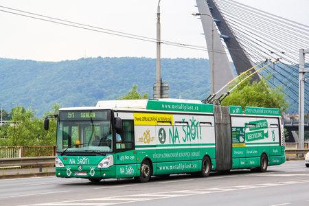 Usti nad Labem, Czech Republic - July 21, 2014: Modern articulated trolleybus Skoda 25Tr in the city street. 에디토리얼