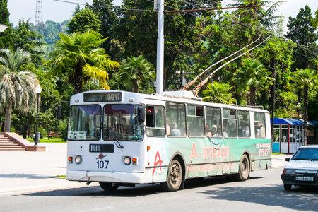 Sukhum, Abkhazia - July 23, 2009: Old trolleybus ZIU 682 in the city street. 에디토리얼