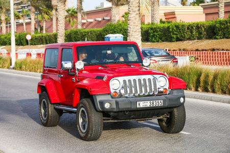 Dubai, UAE - November 16, 2018: Motor car Jeep Wrangler in the city street.