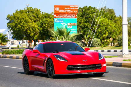 Fujairah, UAE - November 18, 2018: American sportscar Chevrolet Corvette in the city street. Editorial