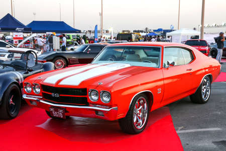 Dubai, UAE - November 15, 2018: American sportscar Chevrolet Chevelle SS takes part in the annual Gulf Car Festival.