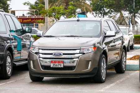 Abu Dhabi, UAE - November 17, 2018: Motor car Ford Edge in the city street.