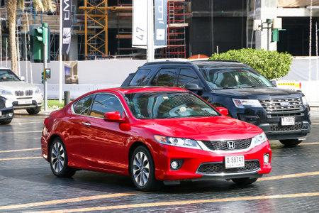 Dubai, UAE - November 16, 2018: Red motor car Honda Accord in the city street.