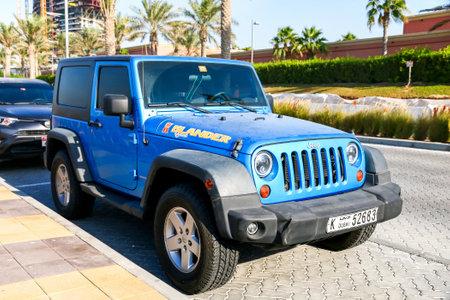 Dubai, UAE - November 15, 2018: Motor car Jeep Wrangler in the city street. Redakční