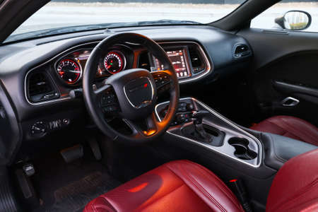 Dubai, UAE - November 16, 2018: Interior of the American muscle car Dodge Challenger.