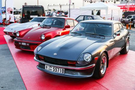 Dubai, UAE - November 15, 2018: Motor car Datsun 280Z takes part in the annual Gulf Car Festival.