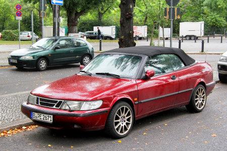 Berlin, Germany - September 10, 2013: Motor car Saab 900 in the city street.