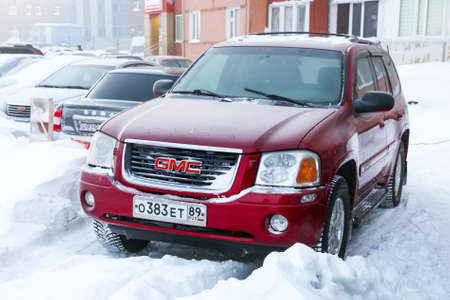 Novyy Urengoy, Russia - December 22, 2018: Motor car GMC Envoy in the city street.