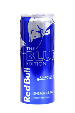 Novyy Urengoy, Russia - January 26, 2019: Aluminium can of the energy drink Red Bull The Blue Edition isolated over white background.