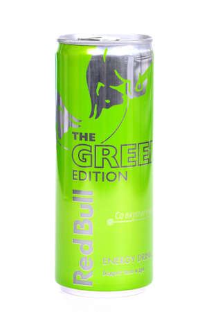 Novyy Urengoy, Russia - January 26, 2019: Aluminium can of the energy drink Red Bull The Green Edition isolated over white background. Editorial