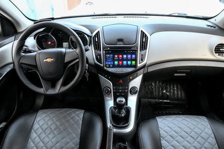 Novyy Urengoy, Russia - March 2, 2019: Interior of the motor car Chevrolet Cruze. 報道画像