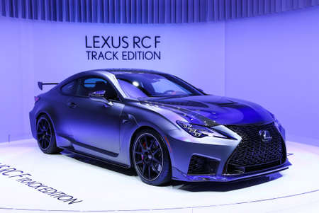 Geneva, Switzerland - March 10, 2019: Race car Lexus RC F Track Edition presented at the annual Geneva International Motor Show 2019. Editorial