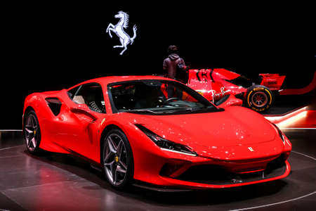Geneva, Switzerland - March 10, 2019: Red Italian supercar Ferrari F8 Tributo presented at the annual Geneva International Motor Show 2019. Editorial