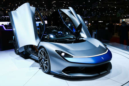 Geneva, Switzerland - March 10, 2019: Electric supercar Pininfarina Battista presented at the annual Geneva International Motor Show 2019 Editorial