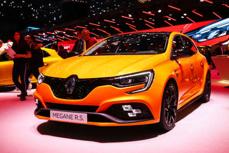 Geneva, Switzerland - March 11, 2019: Orange hatchback Renault Megane RS presented at the annual Geneva International Motor Show 2019 Editorial