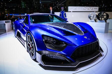 Geneva, Switzerland - March 10, 2019:  Blue supercar Zenvo TSR-S presented at the annual Geneva International Motor Show 2019.