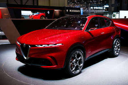 Geneva, Switzerland - March 10, 2019:  Concept car Alfa Romeo Tonale presented at the annual Geneva International Motor Show 2019. Editorial
