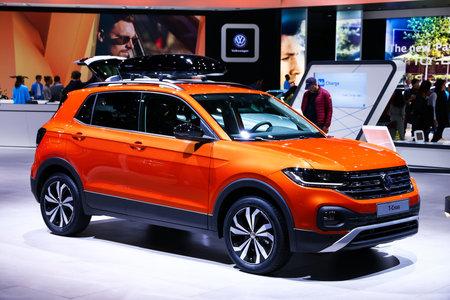 Geneva, Switzerland - March 10, 2019:  Compact SUV Volkswagen T-Cross presented at the annual Geneva International Motor Show 2019.