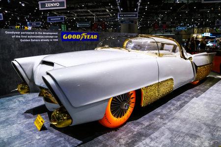 Geneva, Switzerland - March 10, 2019: First autonomous concept car Golden Sahara II presented at the annual Geneva International Motor Show 2019.