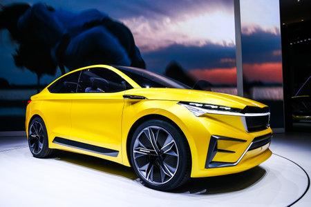 Geneva, Switzerland - March 10, 2019: Concept car Skoda Vision iV presented at the annual Geneva International Motor Show 2019.