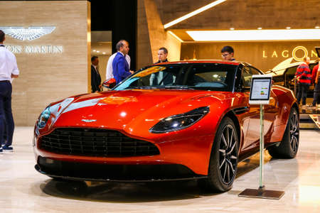 Geneva, Switzerland - March 10, 2019: Supercar Aston Martin DB11 presented at the annual Geneva International Motor Show 2019.