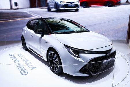 Geneva, Switzerland - March 10, 2019: Motor car Toyota Corolla GR Sport Hybrid presented at the annual Geneva International Motor Show 2019.