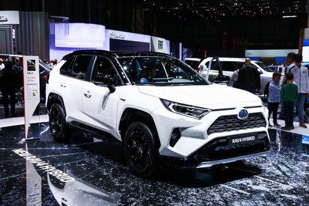 Geneva, Switzerland - March 10, 2019: Motor car Toyota RAV4 presented at the annual Geneva International Motor Show 2019.