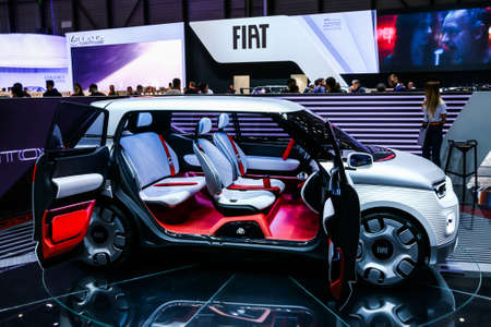 Geneva, Switzerland - March 10, 2019: Concept car Fiat Centoventi presented at the annual Geneva International Motor Show 2019.