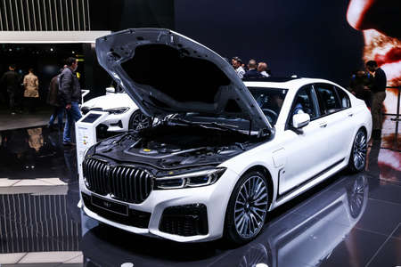 Geneva, Switzerland - March 11, 2019: Motor car BMW 745e (G11) presented at the annual Geneva International Motor Show 2019.