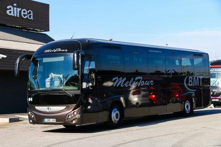 Catalonia, Spain - March 9, 2019: Coach bus Irisbus Magelys Pro at the interurban road.