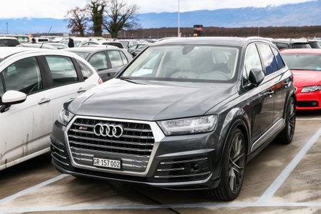 Geneva, Switzerland - March 10, 2019: Motor car Audi SQ7 in the city street.
