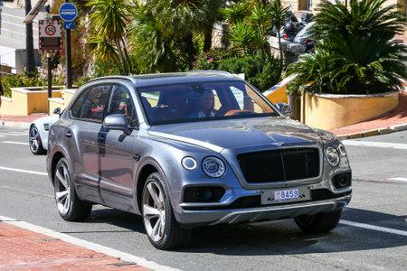 Monte-Carlo, Monaco - March 12, 2019: Motor car Bentley Bentayga in the city street.
