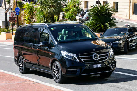 Monte-Carlo, Monaco - March 12, 2019: Black passenger van Mercedes-Benz W447 Viano in the city street. Redakční