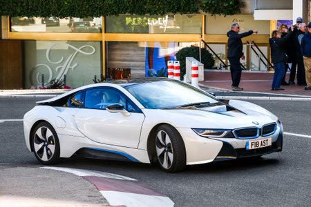 Monte-Carlo, Monaco - March 12, 2019: Motor car BMW i8 (I12) in the city street. Editorial