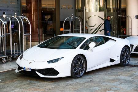 Monte-Carlo, Monaco - March 12, 2019: White supercar Lamborghini Huracan LP610-4 in the city street. Editorial