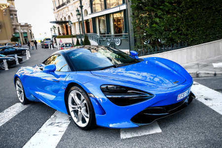 Monte-Carlo, Monaco - March 12, 2019: British sportscar McLaren 720S in the city street. Editorial