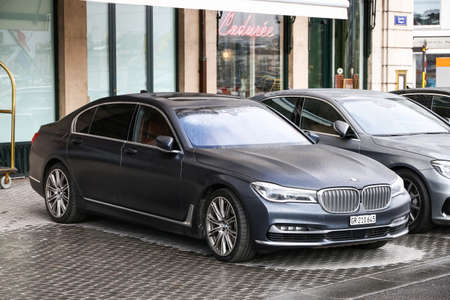 Geneva, Switzerland - March 13, 2019: Premium motor car BMW 7-series (G12) in the city street.