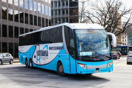 Geneva, Switzerland - March 13, 2019: Touristic coach bus Castrosua Stellae in the city street. Editorial